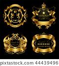 set of golden royal stickers or emblems 44439496