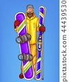 pop art snowboarder - cartoon bearded man in snowboarding suit, glasses, helmet, holding snowboard 44439530