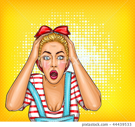 pop art pin up shocked, surprised blonde girl with opened mouth. Sale illustration, discount 44439533