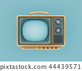 illustration of vintage tv set, television. Retro electric video display for broadcasting, news 44439571