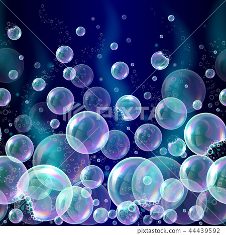 3d soap transparent bubbles background. Banner with water spheres, underwater concept. Soapy 44439592