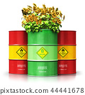 Green biofuel drum with sunflowers in front of red 44441678