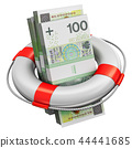 Bundles of 100 Polish zloty money lifesaver buoy 44441685
