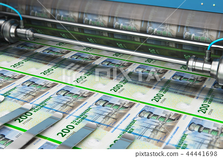 Printing 200 DK Danish krona money banknotes 44441698