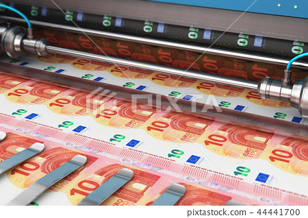 Printing 10 Euro money banknotes 44441700