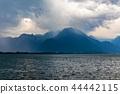 Storm, wind and rain on Geneva lake, Switzerland 44442115