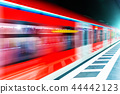 Subway metro train at railway station platform 44442123