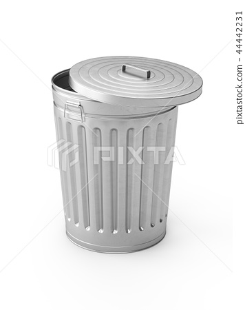3D Rendering steel trash can isolated on white 44442231