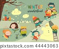 Happy cute kids playing winter games. Hello winter 44443063