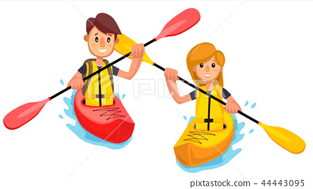 Couple Rides A Kayak Boat On The Lake Vector. Isolated Illustration 44443095