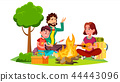 Happy Family With Children Sitting Around The Campfire Vector. Isolated Illustration 44443096