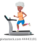 Modern Old Woman Doing Cardio Exercises On A Treadmill Vector. Isolated Illustration 44443101
