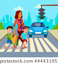 Mother With Children Walk At Crosswalk Vector. Isolated Illustration 44443105