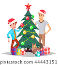 Father With Son Decorating A Christmas Tree Vector. Isolated Illustration 44443151
