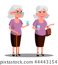 Modern Old Woman With A Glass In Her Hand Vector. Isolated Illustration 44443154