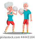 Active Elderly Man And Woman Playing Ball Vector. Isolated Illustration 44443164