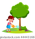 Girl Child Watering Tree, Earth Day Concept Vector. Isolated Illustration 44443166