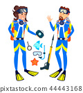 Woman And Man In Diving Masks Vector. Isolated Illustration 44443168