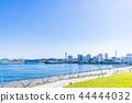 橫濱Yamashita公園和Hikawamaru的風景在清楚的秋天 44444032