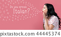 Do you speak Italian theme with young woman speaking 44445374