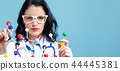 Female scientist with molecule model 44445381