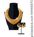 Jewelry Set Golden Necklace and Earrings on Black 44446975
