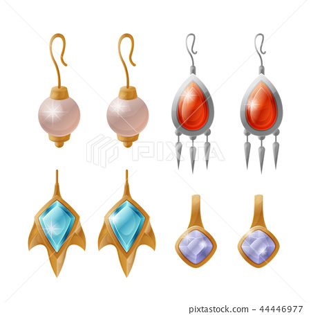 Set of Expensive Earrings Isolated on White Vector 44446977