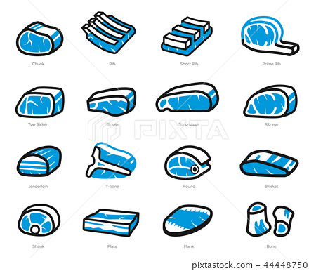 Pieces of beef and pork freeze in general market. 44448750