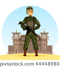 Army soldier with m16 gun near fort or prison 44448980