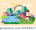 Rustic countryside at spring, village panorama 44449017