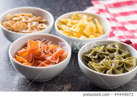 Farfalle pasta. Colorful italian pasta. 44449072
