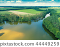 Aerial view of the countryside and river 44449259