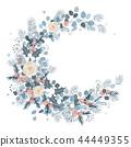 Merry Christmas wreath design. New Year decoration, vector 44449355