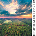 Aerial drone view of the countryside at sunset 44449439