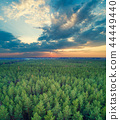 Aerial drone view of the countryside at sunset 44449440