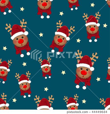 Reindeer Star with Red Scarf on Indigo Background 44449684
