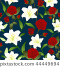 Red Rose and White Lily Flower Background 44449694