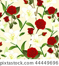 Red Rose and White Lily Flower Beige Background 44449696