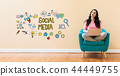 Social media with woman using a laptop 44449755