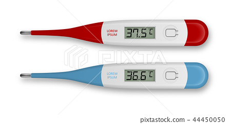 Vector realistic 3d celsius electronic medical thermometer for measuring set closeupisolated. Fever 44450050