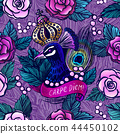 Vector seamless pattern with ink hand drawn peacock 44450102
