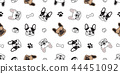 Dog seamless pattern vector french bulldog paw 44451092
