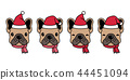 dog vector french bulldog Christmas Santa Claus 44451094