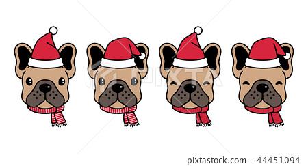 dog vector french bulldog Christmas Santa Claus 44451094