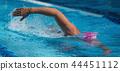 Swimmer athlete swim crawl stroke in pool track 44451112