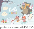 Happy cute animals playing winter games. Hello winter 44451855