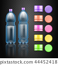 Vector empty plastic water drink bottles with set of multicolored caps 44452418
