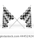 Black and white checkered crossed finish flags vector illustration 44452424