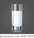 Glass of milk isolated on transparent checkered background vector illustration 44452430