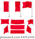 Realistic red advertising fabric textile banners and flags vector set 44452445